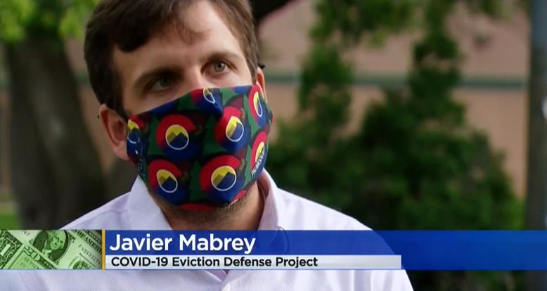 Image of Javier Mabrey speaking with media