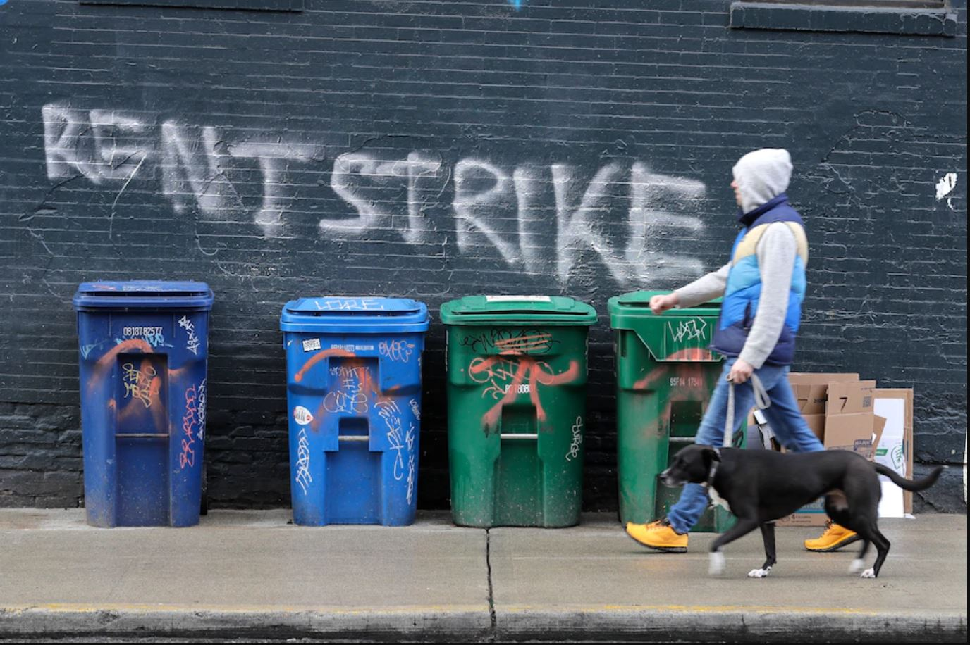 Image of rent strike grafitti