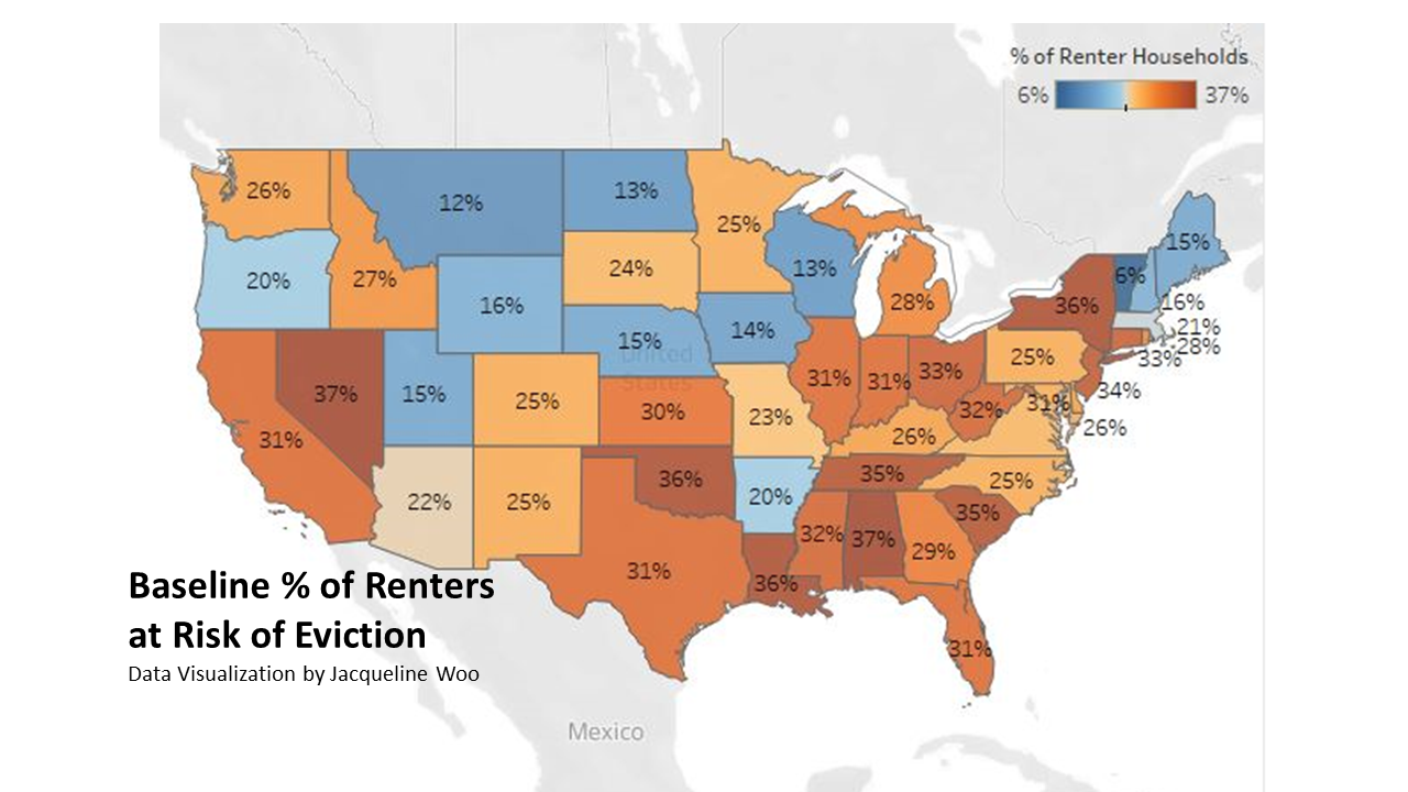 Image of data visualization showing the baseline percentage of renters at risk of eviction by state in the USA.