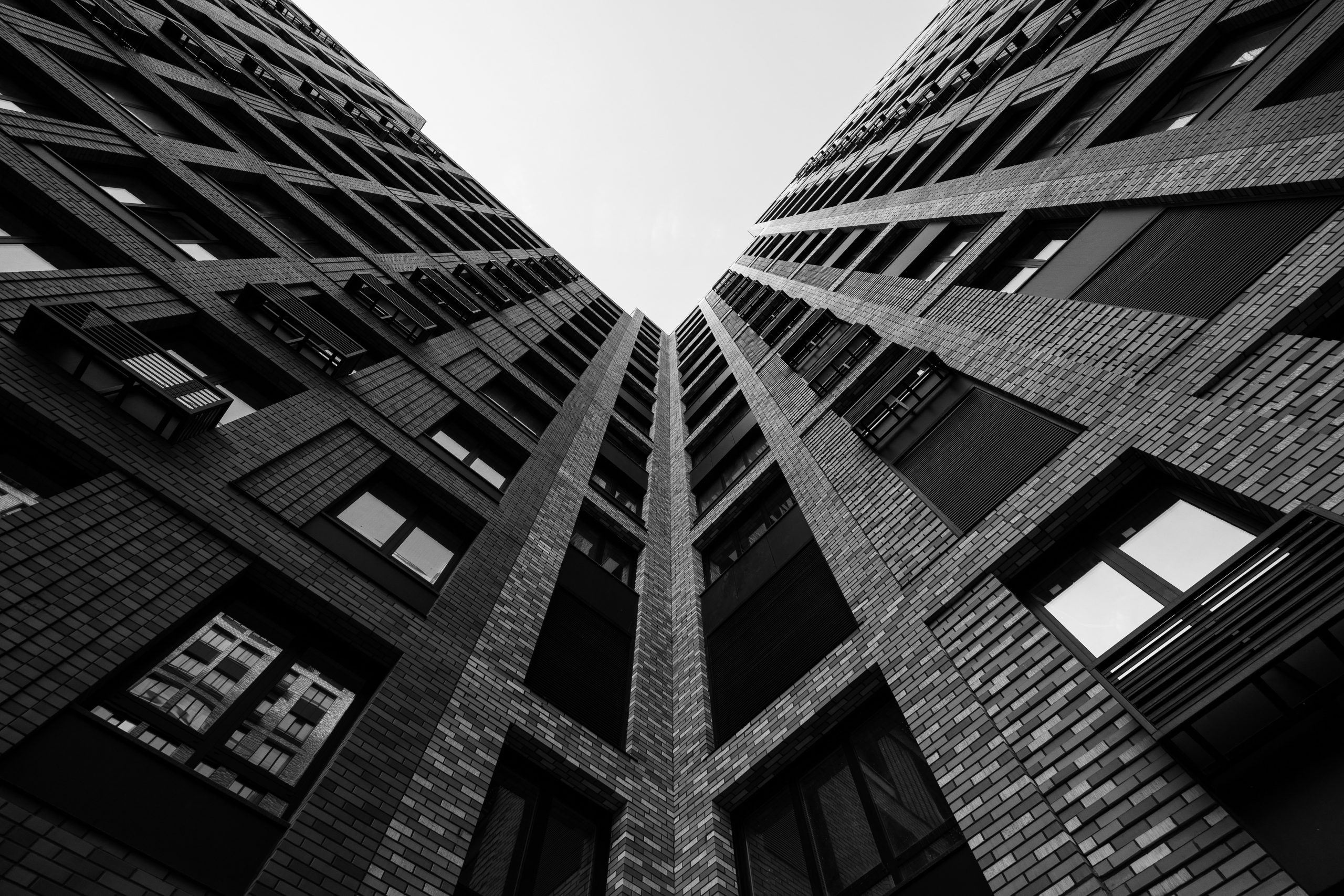 Black and white apartment building