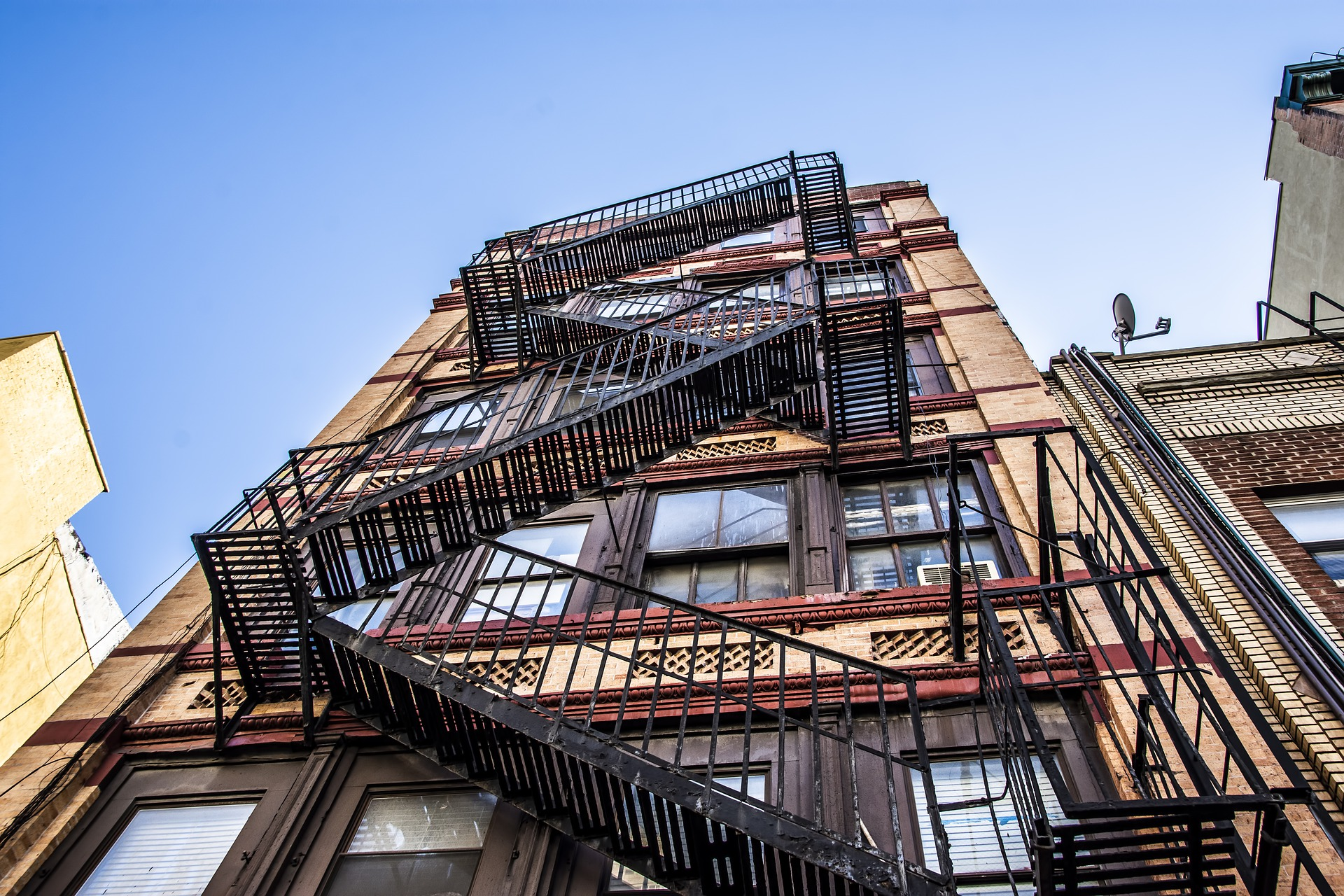 The fire escape on an apartment building