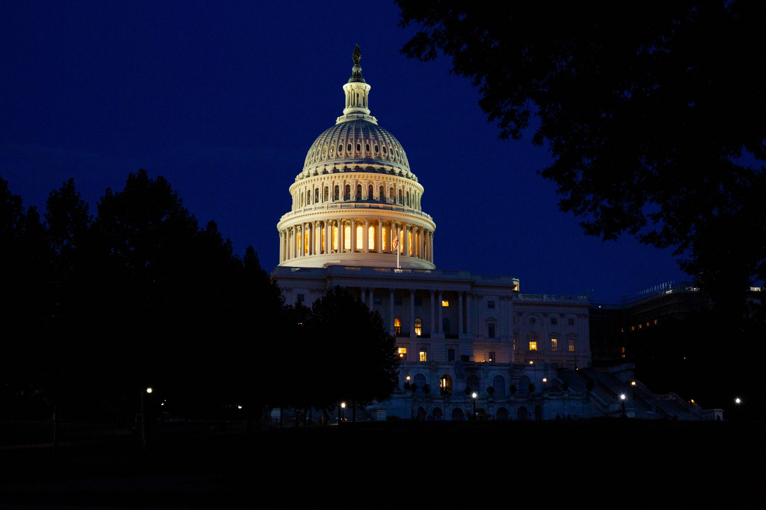 Image of the United States Congress building lit at night