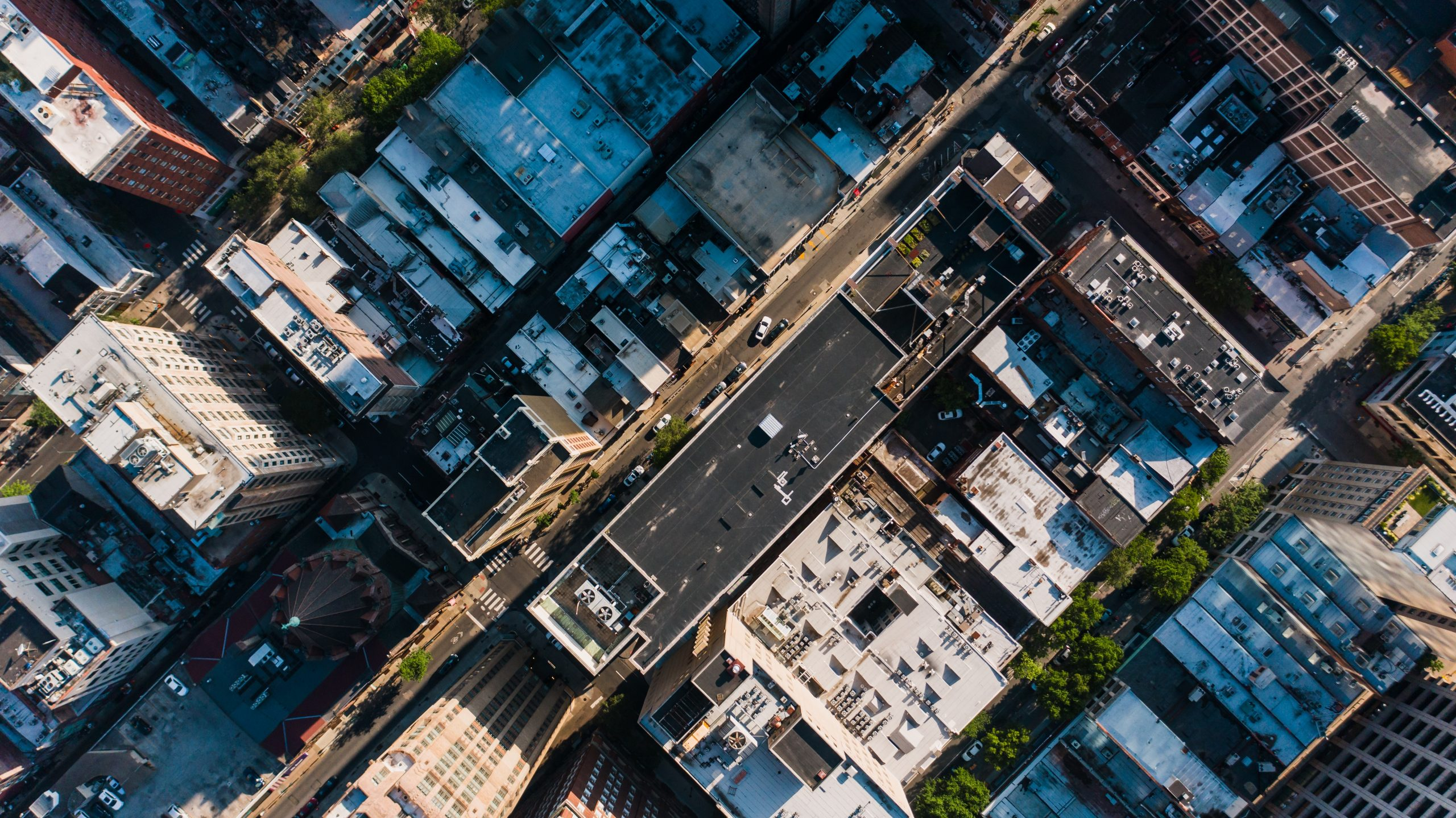 An aerial image of a city street